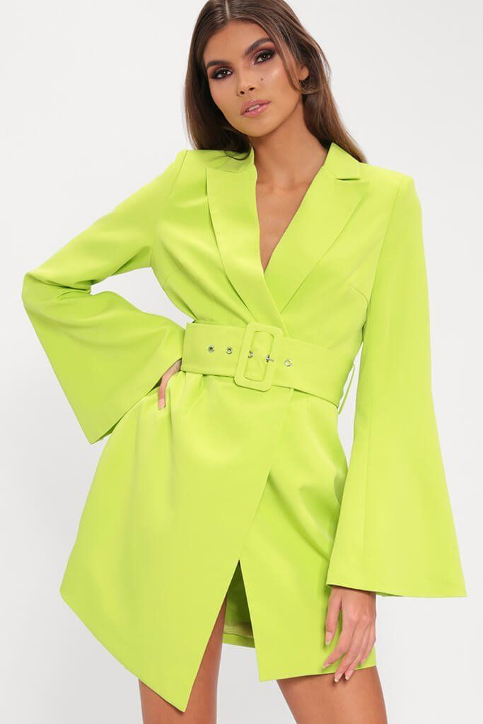 c0eba29f325 Lime belted blazer dress in 2019 | Want It | Blazer dress, Dresses, Blazer