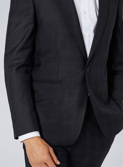 CHARLIE CASELY-HAYFORD X TOPMAN Navy Check Skinny Work Suit Jacket - Suit Jackets - Suits - TOPMAN