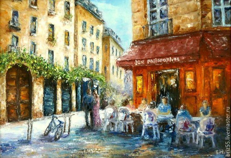 Купить Картина маслом Французское кафе - картина маслом, улочка, солнечный день, лето, город
