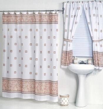 Marvelous Windsor Ivory Fabric Shower Curtain W. Available Matching Window Curtain