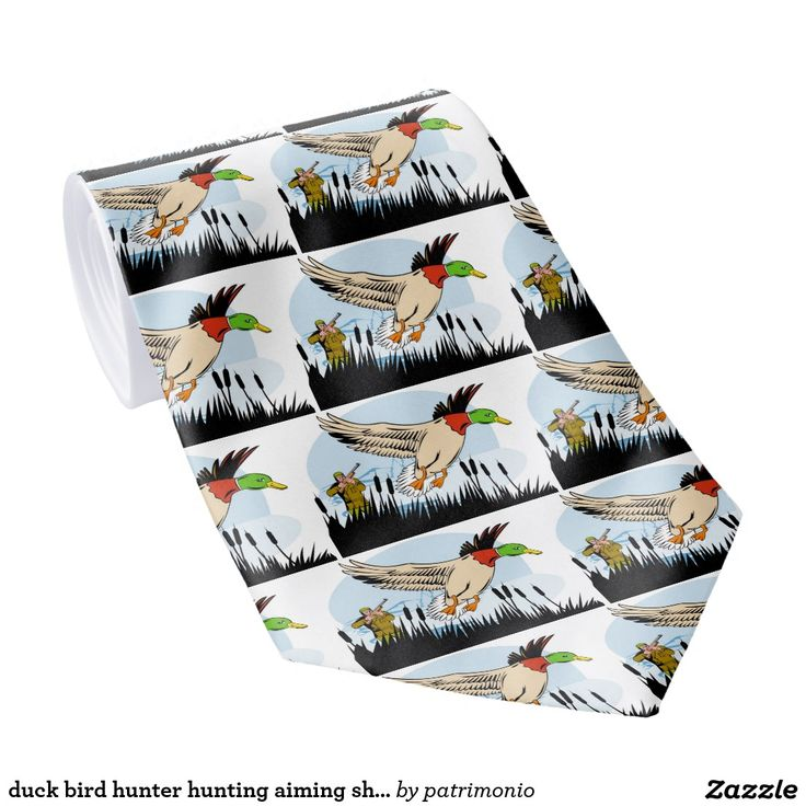 duck bird hunter hunting aiming shotgun rifle tie. Easy to customize necktie showing a graphic design illustration of a duck hunter aiming his shotgun done in retro style. #hunter #duckhunting #necktie