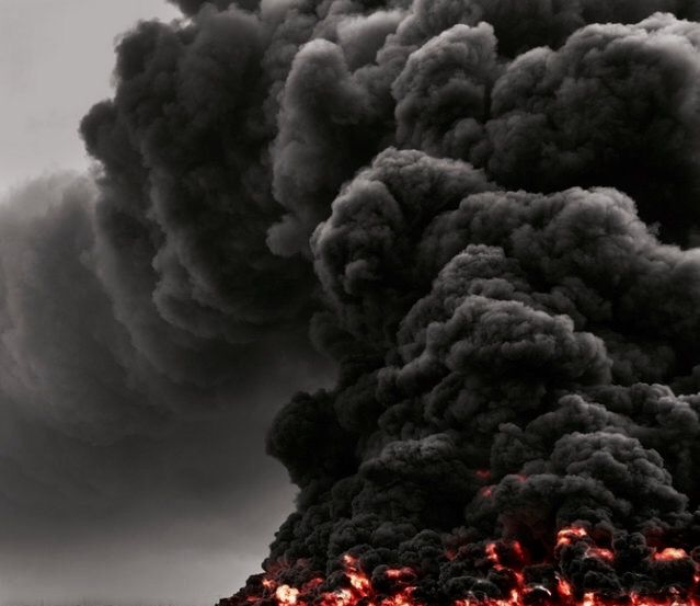 fire on earth = intense power of destruction. earth on fire = pacificatory