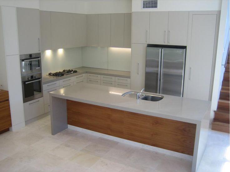 Polyurethane Kitchen With Stone Tops And Veneer Island Bench Back Panel