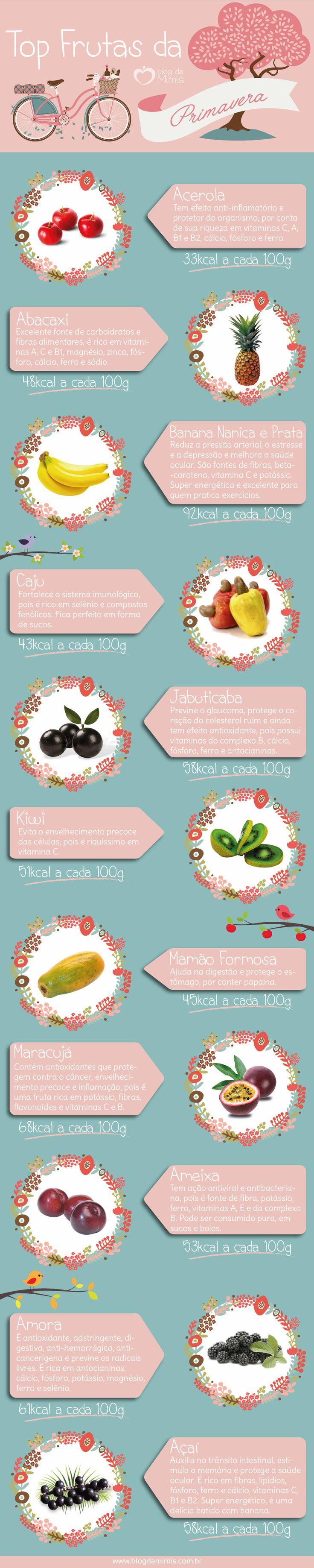 Top frutas da primavera - Blog da Mimis - As frutas e legumes da época tendem a ser mais nutritivos. Por iss, separei uma lista com as frutas da primavera, para fazermos a escolha certa!