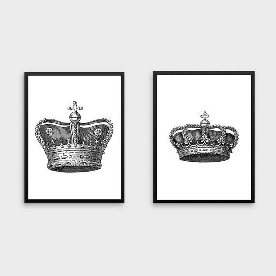 King And Queen Wall Decor King And Queen Crown Couples Gift King And Queen Print King And Queen Crown Decor King And Queen Crowns Couple Gifts