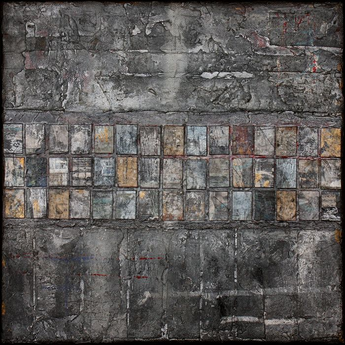 Adrian Lane: Slow Weather Mixed Media on Canvas 30cm x 30cm – Helena Scheibe