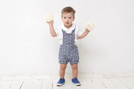 Baby boy romper (sizes 3-24 Months)  Gorgeous and cute baby boy overall shorts made from high quality prewashed linen fabric.Very light with plenty