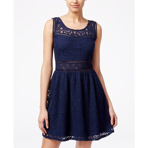 Trixxi Juniors' Lace Crochet Skater Tank Dress ($23) ❤ liked on Polyvore featuring dresses, navy, blue skater dress, tank top dress, skater dress, tank dress and navy blue skater dress