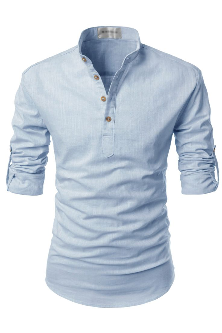 Henley and mandarin collar designed casual shirts for men. 100% cotton linen fabric tops with roll-up long sleeves. Slim fit buttoned shirts.