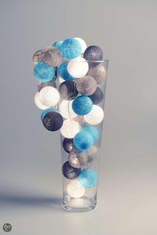 Cotton Ball Lights Decoratief object Lichtslinger Aqua-Grey