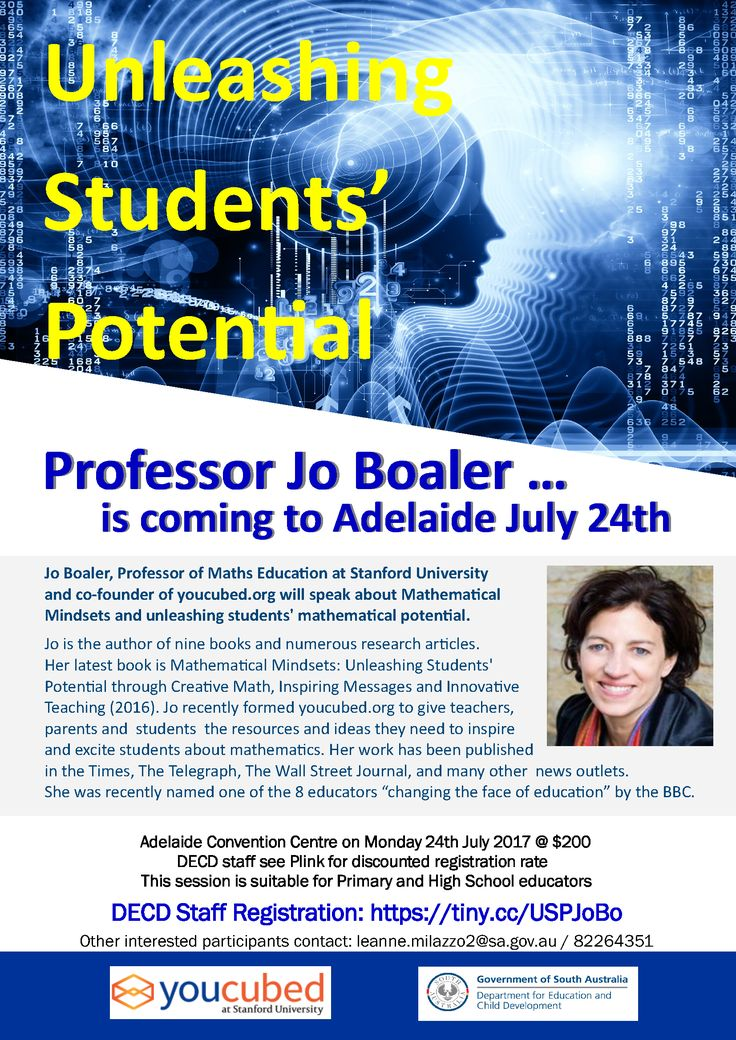 Registrations are now open for Unleashing Students' Potential on 24 July 2017 with Professor Jo Boaler from youcubed and Stanford University. Places will fill quickly. * DECD educators/staff register through Plink at https://tiny.cc/USPJoBo * For non-DECD registrations contact Leanne on 82264351  #JoBoaler #Mathematics #Math #UnleashingStudentsPotential #youcubed