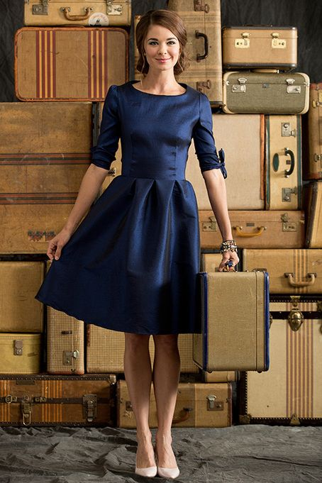 Shop for elegant knee-length dresses in saturated blue hues online at Shabby Apple! Find vintage & retro inspired modest clothing & cute accessories for women in a variety of sizes, fabrics, shapes & styles at www.shabbyapple.com.