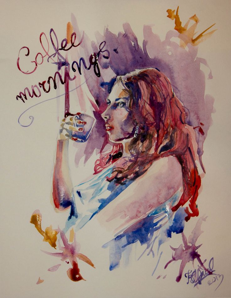 coffee, morning, illustration, watercolor, woman, enjoy