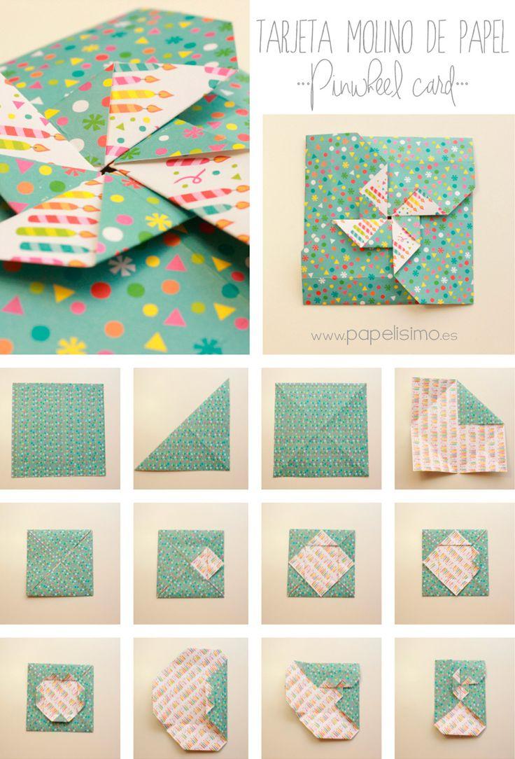 Cómo hacer tarjeta con forma de molinillo de papel   Aprender manualidades es facilisimo.com
