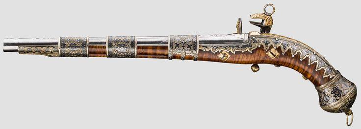 Goldeingelegte Miquelet-Pistole, Kaukasus, datiert 1835 - Objektdetail | Hermann Historica