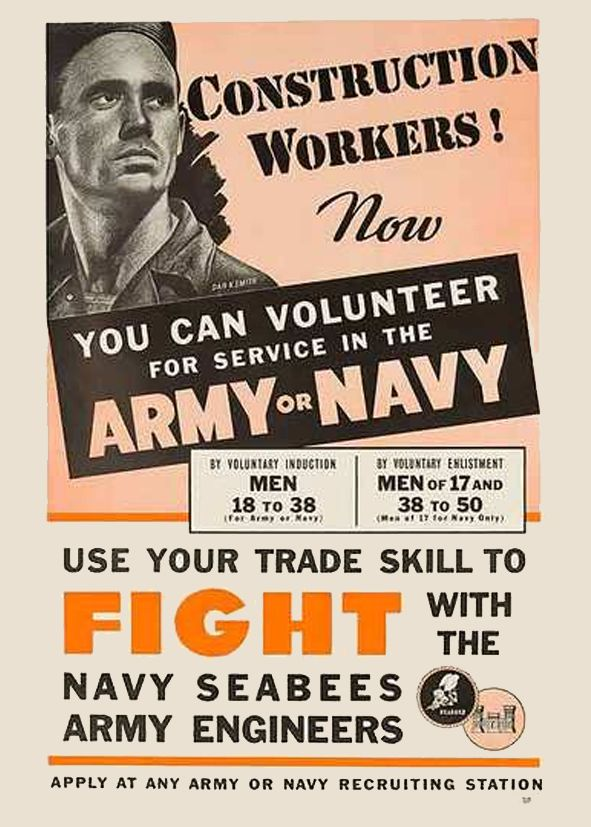 United States Navy: Quonset Huts: Seabee Recruitment Posters