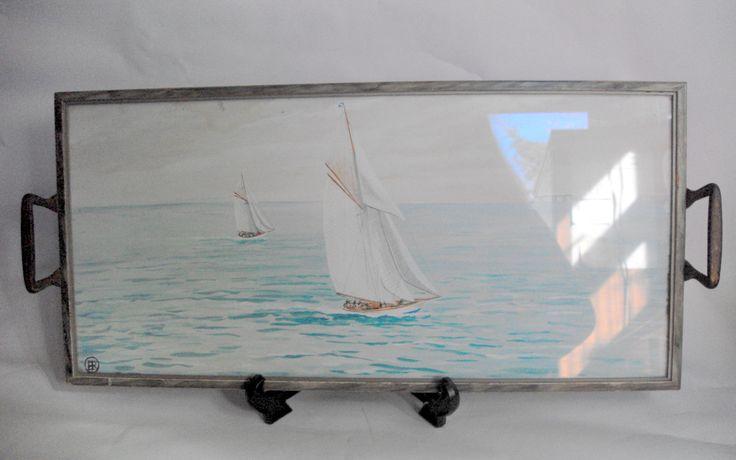 Vintage two handled glazed tray with watercolour painting of yachts as base 11937