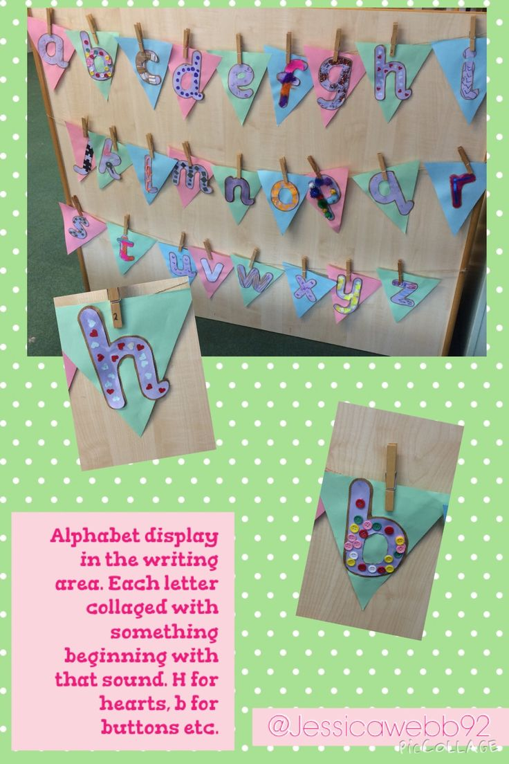 Alphabet display in the writing area. We covered each letter with something beginning with its sound. Feathers for f, pom poms for p, mirrors for m etc. EYFS