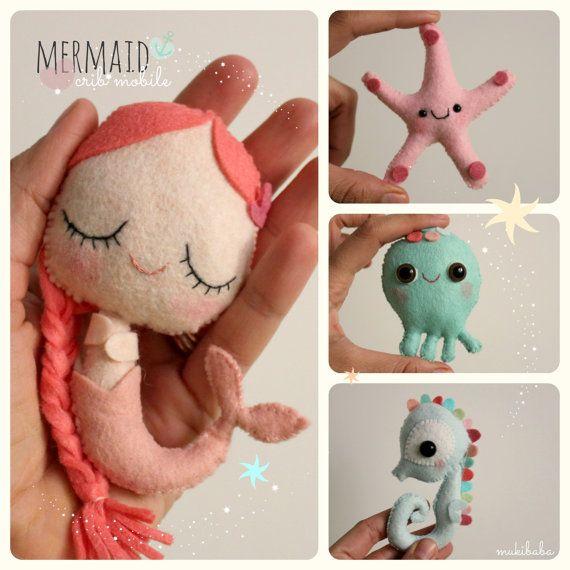 MÓVIL de cuna de bebé la Sirenita bajo el mar animales por mukibaba