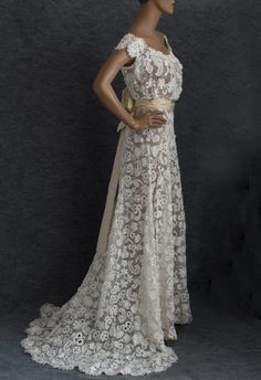 Irish crochet lace wedding dress, c.1912. Irish crochet played an important role in fashion history. The European craft of crochet achieved an aesthetic pinnacle in Ireland, where crochet artists used 17th century Venetian needlepoint laces as inspiration. The quintessential Irish lace is Irish crochet, already famous in 1743 when the Royal Dublin Society awarded prizes for outstanding examples. by ashleyw