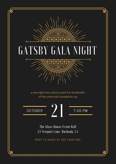 Black and Gold Bordered Great Gatsby Invitation