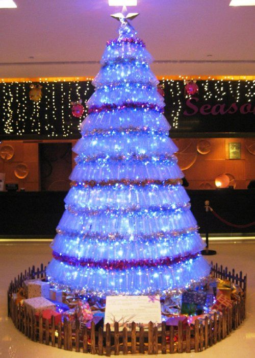 plastic bottle christmas tree- plastic bottle Christmas Tree. Bottles tilt down. Flickr photo by cathepsut.