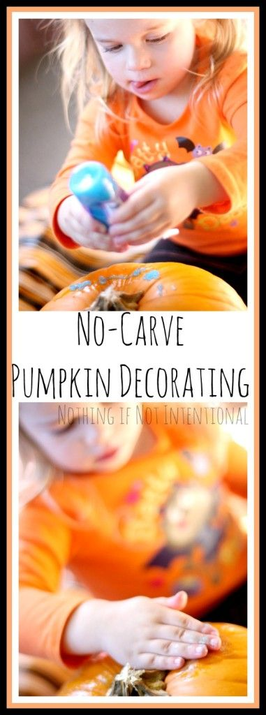 No-Carve Pumpkin Decorating- last-minute idea that's safe for toddlers and young kids!