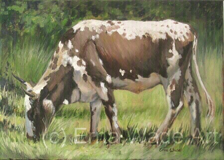 """Nguni 49  Oil on Stretched Canvas  350x250mm (14x10"""")  Price: $80  SOLD"""