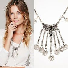 Hot Gypsy Free People Coin Turkish Ethnic Tribal Statement Tassels Necklace