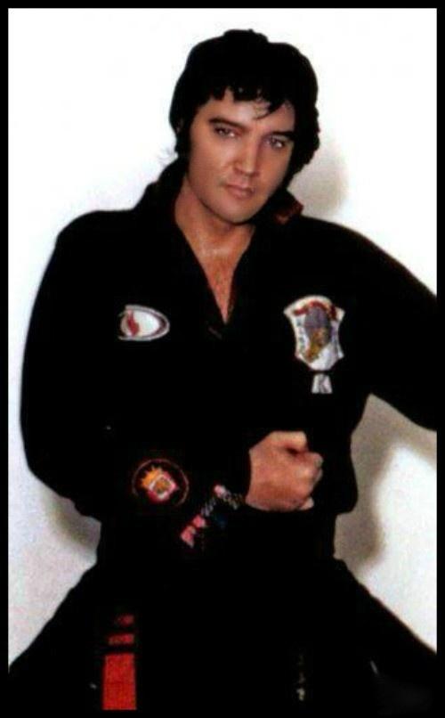 Elvis in his black karate uniform