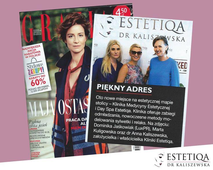 O 'pięknym adresie' czyli naszej klinice pisze magazyn Grazia - dziękujemy!