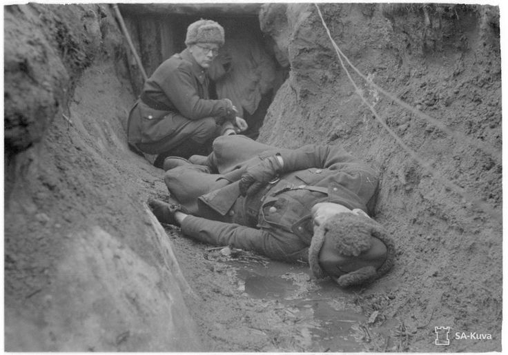 Finnish officer hit by Soviet sniper, 1943. [[MORE]] Second lieutenant Onni Koivisto was showing military photographers around the trenches in Rukajärvi, Karelia, before being hit by a Soviet sniper in the chest 08.04.1943. Pin by Paolo Marzioli