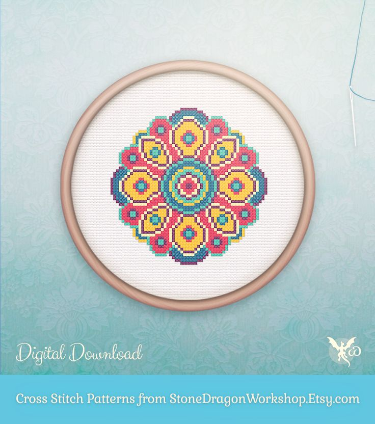 "Looking for a fun new cross stitch project? Get MYSTIC MANDALA II from Stone Dragon Workshop on Etsy! These decorative & modern patterns produce pretty finished stitches & fit perfectly in a 6"" hoop on 14 ct aida. Each pattern is designed using a small, but effective DMC floss colour palette, making them fun & easy to stitch - perfect for seasoned stitchers & beginners alike!"