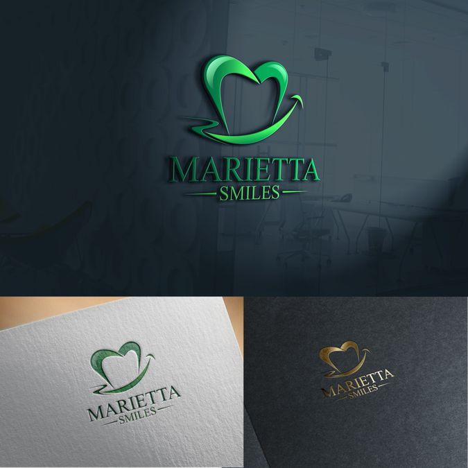 Create an elegant yet contemporary logo for Marietta Smiles, a dental practice…