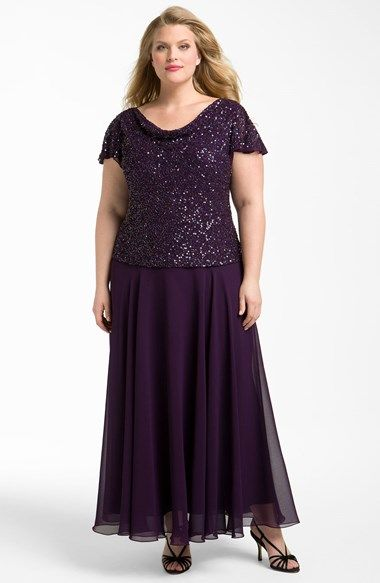 Free shipping and returns on J Kara Embellished Mock Two-Piece Dress (Plus Size) at Nordstrom.com. Sparkling sequins and beads cover the bodice of an elegant dress styled with a draped front and back neckline and short flutter sleeves. A sheer overlay swirls fluidly to create the long skirt. $248
