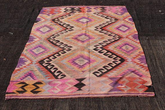 """Roze Turkse Kilim tapijt, 6,6"""" x4.3"""" Feet.200x130 cm, nomadische geweven tapijt met Zigzag patroon tapijt, Vintage Home Decor, Kilim tapijt, kleurrijke deken"""