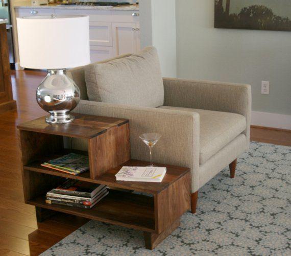 Mid Century Danish Modern Style End Side Table In Walnut Livingroom 415