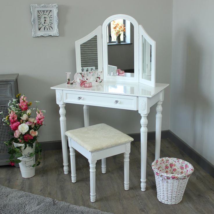 Arabella Range   Cream Dressing Table With Triple Mirror And Stool | Melody  Maison®