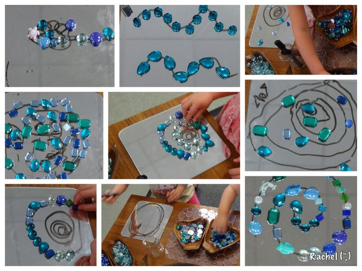 """Mirrors, whiteboard pens & sea-inspired loose parts - from Rachel ("""",) Draw a design with whiteboard pen onto the mirror...love it! Thanks Rachel"""