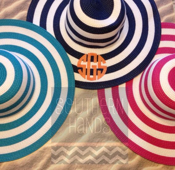 Ladies Monogrammed Floppy Sun Hat by SouthernHandsLLC on Etsy, $30.00
