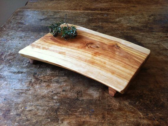 Cutting Board Serving Tray Rustic Birch Cheese Board Salvaged Wood Bread Board Footed Platte for Dudes Men