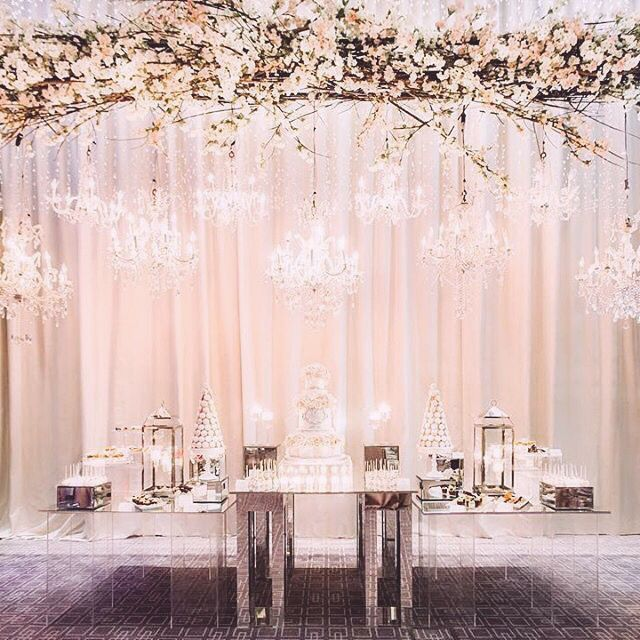 681 best weddings images on pinterest wedding decor bride and a collection of crystal chandeliers and a high arrangement was suspended over this magnificent and display by bobbette and belle for this featured in our junglespirit Images