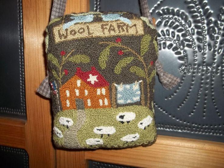 Primitive Punch Needle Wool Farm Cupboard Hanger #NaivePrimitive #SellerHandmade