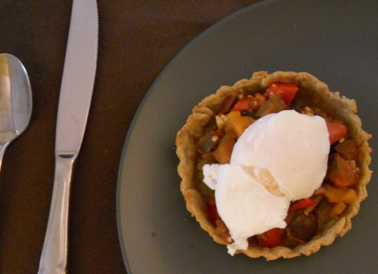 Ratatouille tartlet with poached egg