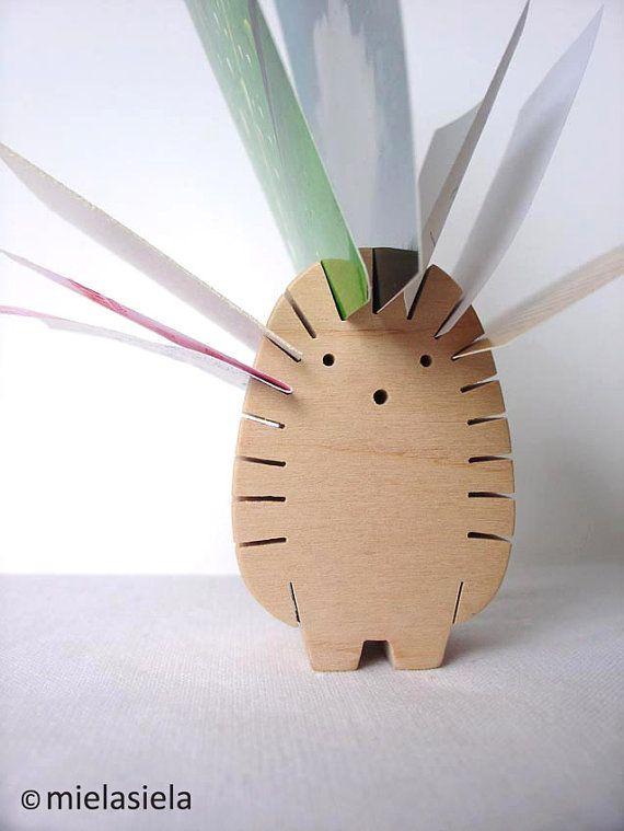 Desktop Organizer - Foto, Visitenkarten, Papier gleiten, Rezept-Kartenhalter. Igel - 6,5 x 4,5 x 2,8 cm / 2,5 x 1,8 x 1,1 cm aus Schwarz-Erle Holz