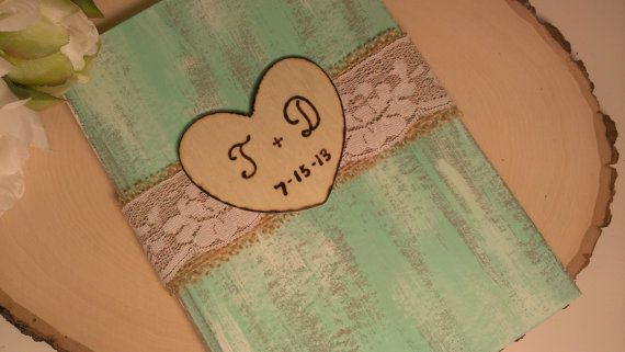 Personalized rustic guest book, country mint wedding guest book burlap and lace wedding ETSY
