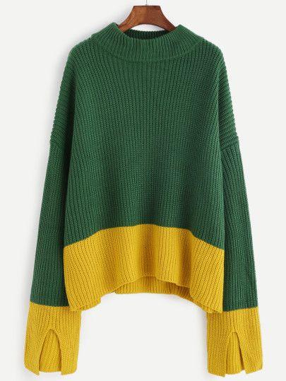 Contrast Drop Shoulder Slit Cuff Sweater