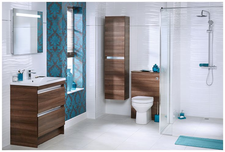 Qube floorstanding furniture in rich walnut contrasts beautifully with arctic waves high gloss tiles in white #qube #freestanding #bathroomfurniture #tiles #myutopia