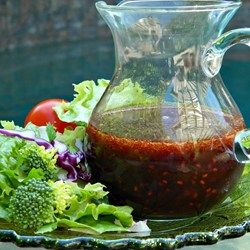 Fresh raspberries are shaken with balsamic vinegar, olive oil, and a touch of honey for a quick and easy vinaigrette.