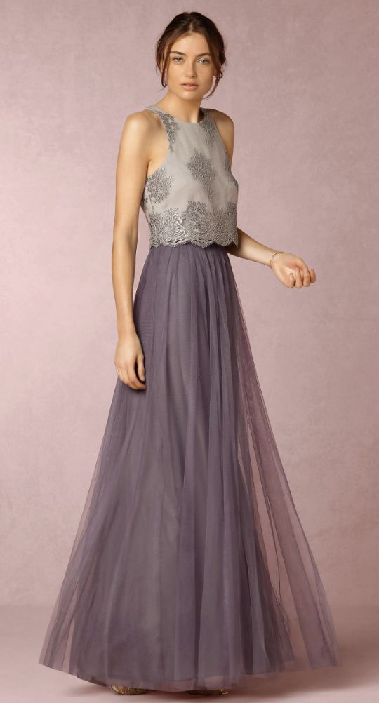 Stunning two piece bridesmaid dress with purple pleated tulle skirt; Featured Dress: BHLDN